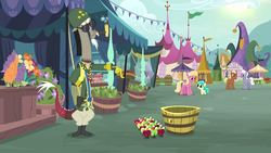 Size: 1920x1080 | Tagged: apple, basket, bubble pipe, bushel basket, clothes, corncob pipe, discord, douglas macarthur, draconequus, flower, flower shop, food, fruit, general, general discord, lily valley, living apple, market, meadow song, mint flower, pear, pegasus, pipe, pony, ponyville, royal riff, safe, screencap, smoking, spoiler:s09e23, tent, the big mac question, uniform, vendor stall