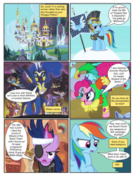 Size: 612x792 | Tagged: armor, artist:newbiespud, artist:randomrex6, background pony, balancing, big macintosh, canterlot, clothes, cloud, collaboration, comic, comic:friendship is dragons, derpy hooves, dialogue, doctor whooves, edit, edited screencap, ethereal mane, female, flying, future twilight, goggles, golden oaks library, helmet, hoof shoes, jester, male, mare, night guard, on a cloud, pinkie pie, pony, princess luna, rainbow dash, royal guard, running, safe, screencap, screencap comic, spitfire, stallion, starry mane, sunglasses, time turner, trixie, twilight sparkle, unamused, unicorn, unicorn twilight, uniform, wonderbolts, wonderbolts uniform