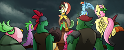 Size: 1763x716 | Tagged: applejack, artist:draconic-vulcano, artist:voxaz, boyle, captain celaeno, dragon, earth pony, female, fluttershy, flying, lix spittle, male, mare, mullet (character), murdock, my little pony: the movie, parrot pirates, pegasus, pinkie pie, pirate, pirate ship, pony, rainbow dash, safe, scene interpretation, spike, storm, time to be awesome