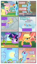 Size: 612x1061 | Tagged: ..., anemometer, angry, applejack, artist:newbiespud, artist:winged cat, background pony, bush, cloud, cloud kicker, collaboration, comic, comic:friendship is dragons, dialogue, edited screencap, female, fluttershy, flying, freckles, goggles, grin, hiding, hurricane fluttershy, implied pinkie pie, looking up, mare, open mouth, parasol, pony, pun, rainbow dash, safe, screencap, screencap comic, smiling, sun, twilight sparkle, unicorn, unicorn twilight