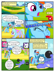 Size: 612x792 | Tagged: angry, annoyed, artist:newbiespud, background pony, barbell, baseball cap, blowing whistle, bluebell, cap, cloud kicker, comic, comic:friendship is dragons, dialogue, dizzy twister, edited screencap, eyes closed, female, flitter, flying, grin, hat, hurricane fluttershy, male, mare, merry may, on back, onomatopoeia, orange swirl, parasol, pegasus, pinkie pie, pony, rainbow dash, rarity, safe, screencap, screencap comic, smiling, stallion, thunderlane, unicorn, weight lifting, whistle, wing hands, wings