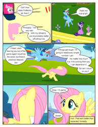 Size: 612x792 | Tagged: safe, artist:newbiespud, edit, edited screencap, screencap, bluebell, fluttershy, pinkie pie, rainbow dash, spike, twilight sparkle, dragon, earth pony, pegasus, pony, unicorn, comic:friendship is dragons, hurricane fluttershy, anemometer, annoyed, baseball cap, cap, comic, dialogue, female, flying, grin, hat, male, mare, notepad, running, screencap comic, smiling, unicorn twilight