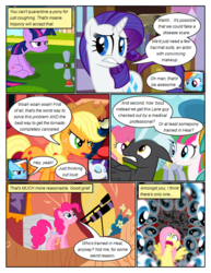 Size: 612x792 | Tagged: safe, artist:newbiespud, edit, edited screencap, screencap, applejack, blossomforth, derpy hooves, dizzy twister, orange swirl, pinkie pie, rainbow dash, rarity, sunshower raindrops, thunderlane, twilight sparkle, earth pony, pegasus, pony, unicorn, comic:friendship is dragons, hurricane fluttershy, anemometer, annoyed, background pony, book, comic, cowboy hat, dialogue, eye, eyes, eyes closed, female, freckles, frown, golden oaks library, gritted teeth, hat, hooves, horn, hyperventilating, library, looking up, male, mare, offscreen character, scared, screencap comic, sitting, smiling, stallion, standing, telescope, unamused, unicorn twilight, wings, worried, 👀