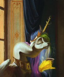 Size: 1700x2050 | Tagged: safe, artist:bra1neater, princess celestia, alicorn, pony, are you frustrated?, coffee, crown, female, fine art emulation, hand, jewelry, long neck, magic, magic hands, mare, meme, morning ponies, necc, necklestia, pinky out, regalia, solo, vile, wat