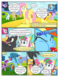 Size: 612x792 | Tagged: safe, artist:newbiespud, edit, edited screencap, screencap, applejack, blossomforth, crescent pony, derpy hooves, dizzy twister, fluttershy, lightning bolt, mane moon, orange swirl, pinkie pie, rainbow dash, sassaflash, silverspeed, sunshower raindrops, twilight sparkle, white lightning, earth pony, pegasus, pony, unicorn, comic:friendship is dragons, hurricane fluttershy, background pony, background pony audience, baseball cap, blowing whistle, cap, comic, dialogue, eyes closed, female, flying, freckles, glowing horn, grin, hat, hooves, horn, levitation, looking up, magic, male, mare, nervous, onomatopoeia, open mouth, raised hoof, scared, screencap comic, smiling, spread wings, stallion, telekinesis, tree, unicorn twilight, whistle, wings