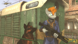 Size: 1920x1080 | Tagged: 3d, anthro, ar15, artist:tfc0234, assault rifle, clothes, crossover, dog, fallout equestria, female, grenade launcher, gun, helicopter, horn, locomotive, m203, oc, oc:littlepip, oc only, rifle, safe, solo, source filmmaker, s.t.a.l.k.e.r., train, unicorn, vault suit, weapon