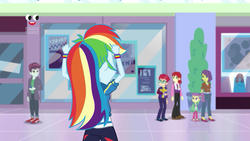 Size: 1280x720 | Tagged: background human, canterlot mall, clothes, crystal prep academy uniform, equestria girls, equestria girls series, female, holidays unwrapped, lily pad (equestria girls), male, nolan north, pants, pepper twist, plusplus, rainbow dash, safe, school uniform, screencap, shoes, spoiler:eqg series (season 2), track starr, victoria