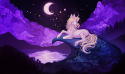 Size: 5976x3528   Tagged: safe, alternate version, artist:sitaart, oc, oc only, oc:blue haze, pony, unicorn, ponyfinder, bard, blonde, blonde hair, blonde mane, blue eyes, cloud, complex background, dungeons and dragons, fantasy class, female, grass, horn, mare, moon, mountain, mountain range, night, pathfinder, pen and paper rpg, rpg, scenery, singing, stars, water