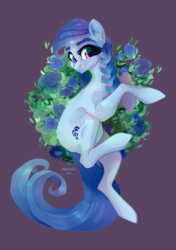Size: 2400x3400 | Tagged: artist:glastalinka, bush, cute, earth pony, female, flower, happy, looking at you, mare, oc, oc:raylanda, pony, rose, safe, smiling, solo