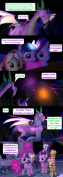 Size: 1920x5400 | Tagged: safe, artist:red4567, applejack, fluttershy, granny smith, pinkie pie, rainbow dash, rarity, spike, starlight glimmer, twilight sparkle, alicorn, dragon, pony, comic:i must regress, 3d, adult, adult spike, age progression, age regression, babity, baby, baby dash, baby fluttershy, baby pie, baby pinkie pie, baby pony, baby rainbow dash, baby rarity, babyjack, babyshy, book, cart, comic, female, filly, filly fluttershy, filly pinkie pie, filly rainbow dash, filly rarity, flying, foal, forest, giant spike, horn, mane six, older, older spike, source filmmaker, spell gone wrong, spikezilla, temple, twilight sparkle (alicorn), winged spike, winged spikezilla, young granny smith, younger
