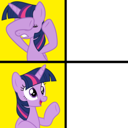 Size: 1300x1300 | Tagged: safe, artist:luckreza8, twilight sparkle, alicorn, pony, hotline bling, meme, template, twilight sparkle (alicorn)