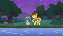 Size: 2064x1193 | Tagged: a happy ending for marble pie, braeble, braeburn, creek, evening, female, forest, happy ending, jon pardi, lyrics, lyrics in the description, male, marble pie, night, outdoors, river, romance, safe, scenery, serenade, shipping, singing, smiling, song reference, starry night, stars, straight, stream, text, tree, up all night, youtube link