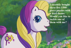 Size: 625x424 | Tagged: bronybait, cropped, cute, edit, edited screencap, flower, g3, greetings from unicornia, puzzlebetes, puzzlemint, safe, screencap, speech, that pony sure does love puzzles, tree