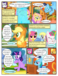 Size: 612x792 | Tagged: safe, artist:newbiespud, edit, edited screencap, screencap, applejack, blossomforth, derpy hooves, dizzy twister, fluttershy, orange swirl, pinkie pie, rainbow dash, rarity, sunshower raindrops, twilight sparkle, earth pony, pegasus, pony, unicorn, comic:friendship is dragons, hurricane fluttershy, anemometer, apple, background pony, baseball cap, bathrobe, bucket, cap, clothes, comic, coughing, dialogue, eyes closed, feather, feather flu, flying, food, freckles, frown, grin, hat, looking up, mane six, molting, pony pox, robe, sad, screencap comic, sick, sitting, smiling, tree, unicorn twilight, wet, whistle, worried
