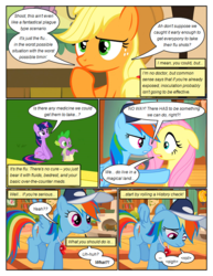 Size: 612x792 | Tagged: safe, artist:newbiespud, edit, edited screencap, screencap, applejack, fluttershy, rainbow dash, spike, twilight sparkle, earth pony, pegasus, pony, unicorn, comic:friendship is dragons, hurricane fluttershy, baseball cap, book, cap, comic, dialogue, female, freckles, frown, hat, male, mare, notepad, sad, screencap comic, sitting, thinking, unicorn twilight, whistle, wide eyes