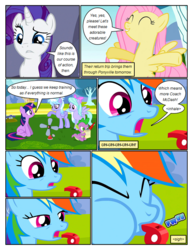 Size: 612x792 | Tagged: safe, artist:newbiespud, edit, edited screencap, screencap, cloudchaser, flitter, fluttershy, rainbow dash, rarity, spike, twilight sparkle, dragon, pegasus, pony, unicorn, comic:friendship is dragons, hurricane fluttershy, anemometer, blowing whistle, bow, coach rainbow dash, comic, dialogue, eyes closed, female, frown, hair bow, happy, male, mare, notepad, onomatopoeia, quill, rainbow dashs coaching whistle, raised hoof, screencap comic, sitting, slit eyes, smiling, that pony sure does love whistles, unicorn twilight, whistle, worried