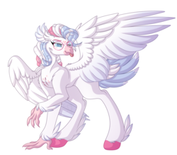 Size: 4080x3588 | Tagged: safe, artist:amazing-artsong, oc, oc:gale heartstrings, classical hippogriff, hippogriff, female, glasses, simple background, solo, tongue out, transparent background