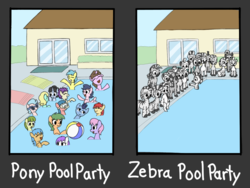 Size: 1024x768 | Tagged: artist:rainbow-douch, beach ball, comparison, meme, oc, pony, pool party, pool's closed, racism, safe, swimming, swimming pool, zebra, zebra oc, zebras as black people stereotype