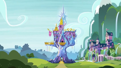 Size: 1600x900   Tagged: safe, screencap, rarity, pony, dragon dropped, alone, female, mare, scenery, school of friendship, solo, twilight's castle, waterfall