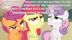 Size: 2000x1125 | Tagged: angry, barely pony related, caption, disgusted, edit, edited screencap, eye twitch, female, frown, hearts and hooves day, hearts and hooves day (episode), image macro, male, meghan mccarthy, meme, reaction image, safe, screencap, text