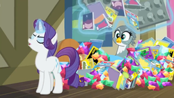 Size: 1600x900 | Tagged: safe, screencap, gabby, rarity, dragon dropped, aura, book, comic book, eyes closed, gem, levitation, magic, muffin tray, pile, snooty, telekinesis