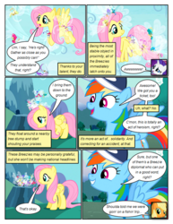 Size: 612x792 | Tagged: safe, artist:newbiespud, edit, edited screencap, screencap, applejack, breezette, fluttershy, rainbow dash, rarity, twirly, breezie, earth pony, pegasus, pony, unicorn, comic:friendship is dragons, baseball cap, cap, comic, dialogue, female, flying, freckles, grin, hat, mare, mushroom hat, screencap comic, smiling