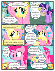 Size: 612x792 | Tagged: safe, artist:newbiespud, edit, edited screencap, screencap, applejack, breezette, fluttershy, pinkie pie, rainbow dash, twilight sparkle, twirly, breezie, earth pony, pegasus, pony, unicorn, comic:friendship is dragons, annoyed, comic, dialogue, female, flying, freckles, frown, happy, hat, mare, mushroom hat, pronking, screencap comic, smiling, unicorn twilight, wide eyes