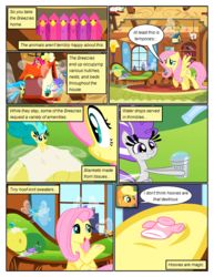 Size: 612x792 | Tagged: annoyed, applejack, artist:newbiespud, bird, bird house, breezie, clothes, comic, comic:friendship is dragons, couch, dexterous hooves, dialogue, earth pony, edited screencap, female, fluttershy, fluttershy's cottage (interior), freckles, frown, hat, hoof hold, mare, pegasus, pony, safe, screencap, screencap comic, shirt, smiling, thimble, tissue, unamused, underhoof, worried