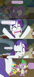 Size: 1592x3584 | Tagged: safe, edit, edited screencap, screencap, rarity, spike, dragon dropped, book, clock, comic, comic book, confused, dialogue, faic, food, gem, ice cream, muffin tray, pile, screencap comic, speech bubble