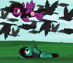 Size: 2028x1743 | Tagged: angry, artist:lightningbolt, bird, bring me the horizon, camera, clothes, cloud, crow, derpibooru exclusive, duo, earth pony, flying, frown, grass, hoof hold, looking up, male, murder of crows, on back, outdoors, pegasus, pierce the veil, ponified, pony, safe, shirt, sky, spread wings, stallion, svg, .svg available, tom sykes, t-shirt, vector, vic fuentes, wings
