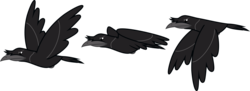 Size: 1612x587 | Tagged: artist:lightningbolt, bird, crow, derpibooru exclusive, flying, no pony, safe, simple background, svg, .svg available, transparent background, vector, wings