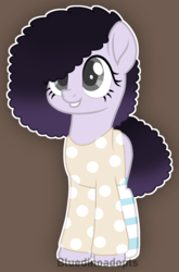 Size: 1077x1635 | Tagged: afro, artist:bluedinoadopts, blank flank, brown background, clothes, earth pony, female, grin, mare, oc, oc:berry mix, oc only, pony, safe, shirt, simple background, smiling, socks, solo, striped socks