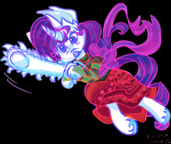 Size: 1024x861 | Tagged: angry, artist:pumpkin-somethin-art, chainsaw, clothes, cosplay, costume, crossover, homestuck, rarity, safe, this will end in death, this will end in tears, this will end in tears and/or death, unicorn