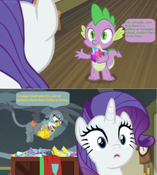 Size: 1600x1778 | Tagged: safe, edit, edited screencap, screencap, gabby, rarity, spike, dragon, dragon dropped, carrying, clock, comic book, crate, cutie mark, dialogue, flying, gem, implied gallus, implied grampa gruff, mailbag, realization, screencap comic, speech bubble, the cmc's cutie marks, winged spike