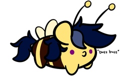 Size: 928x616 | Tagged: safe, artist:kimjoman, oc, oc only, oc:purple flix, bee, insect, alcohol, blob, blob ponies, chubbie, cute, male, no pupils, simple background, solo, species swap, text, white background