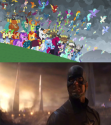 Size: 1920x2160 | Tagged: amethyst star, avengers, avengers assemble, avengers: endgame, blaze, broken horn, captain america, chancellor neighsay, changedling, changeling, clothes, dragon, dragoness, earth pony, edit, edited screencap, equestria assemble, everyone is here, eye scar, female, firelight, fizzlepop berrytwist, flam, fleetfoot, flim, flim flam brothers, garble, gimme moore, glowing horn, grampa gruff, greta, hippogriff, horn, king thorax, kirin, laguna, lemon hearts, lyra heartstrings, male, mare, marvel, marvel cinematic universe, meme, minuette, misty fly, night light, party favor, pegasus, pharynx, pony, prince pharynx, prince rutherford, princess ember, rain shine, safe, scar, scarf, screencap, seaspray, silver lining, silver zoom, sky beak, sparkler, spitfire, spoiler:s09e24, spoiler:s09e25, stallion, stellar flare, steve rogers, sunburst, surprise, tempest shadow, terramar, the ending of the end, thorax, trixie, twilight velvet, unicorn, wonderbolts, yak