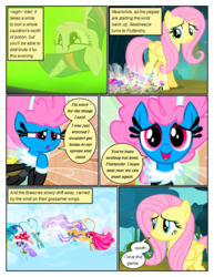 Size: 612x792 | Tagged: safe, artist:newbiespud, edit, edited screencap, screencap, breezette, fluttershy, seabreeze, twilight sparkle, twirly, breezie, pegasus, pony, unicorn, comic:friendship is dragons, cauldron, clothes, comic, dialogue, female, flying, hat, looking down, male, mare, mushroom hat, reflection, saddle bag, screencap comic, smiling, unicorn twilight