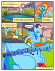 Size: 612x792 | Tagged: artist:newbiespud, background pony, background pony audience, baseball cap, blowing whistle, cap, clothes, comic, comic:friendship is dragons, dialogue, dragon, edited screencap, eyes closed, female, flying, hat, hoof hold, hurricane fluttershy, lightning bolt, line-up, male, mare, merry may, multeity, onomatopoeia, parasol, pegasus, pony, rainbow dash, raised hoof, safe, sassaflash, screencap, screencap comic, spike, spitfire, spring melody, sprinkle medley, swimming pool, twilight sparkle, unicorn, unicorn twilight, uniform, whistle, white lightning, wonderbolts, wonderbolts uniform