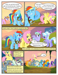 Size: 612x792 | Tagged: safe, artist:newbiespud, edit, edited screencap, screencap, cloudchaser, dust devil, flitter, fluttershy, jetstream, rainbow dash, spike, spitfire, spring skies, twilight sparkle, warm front, dragon, pegasus, pony, unicorn, comic:friendship is dragons, hurricane fluttershy, background pony, bow, clothes, comic, covering ears, dialogue, female, goggles, hair bow, holding a pony, looking up, male, mare, screencap comic, smiling, unicorn twilight, uniform, walking, wonderbolts, wonderbolts uniform