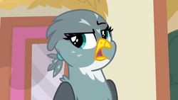 Size: 1600x900 | Tagged: beak, dragon dropped, eyeroll, female, gabby, gabby is not amused, griffon, lidded eyes, open mouth, ponyville, raised eyebrow, safe, screencap, solo, spoiler:s09e19, unimpressed