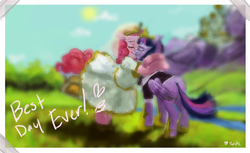 Size: 2408x1473 | Tagged: alicorn, artist:misstwipietwins, female, lesbian, marriage, married couple, pinkie pie, safe, shipping, story included, twilight sparkle, twilight sparkle (alicorn), twinkie