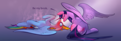 Size: 4314x1475 | Tagged: alicorn, artist:underpable, artist:xbi, blushing, blushing profusely, book, both cutie marks, derpibooru exclusive, dialogue, female, lesbian, looking at each other, mare, pegasus, pony, rainbow dash, safe, shipping, steam, sweat, that pony sure does love books, tongue out, twidash, twilight sparkle, twilight sparkle (alicorn)