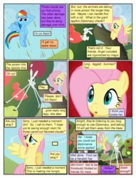 Size: 612x802 | Tagged: ..., angel bunny, animal, apple, artist:newbiespud, artist:winged cat, chocolate, chocolate rain, collaboration, comic, comic:friendship is dragons, dialogue, edited screencap, eyes closed, female, fluttershy, food, implied applejack, implied pinkie pie, implied rarity, implied twilight sparkle, male, mare, pegasus, pony, rabbit, rain, rainbow dash, safe, salute, screencap, screencap comic, the return of harmony, transformation, tree, unshorn fetlocks, wide eyes, worried
