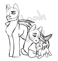Size: 740x779 | Tagged: alicorn, artist:keeharn, commissioner:bigonionbean, dawwww, father and son, female, foal, fusion, fusion:king speedy hooves, fusion:queen galaxia, husband and wife, male, mother and son, nuzzling, oc, oc:king speedy hooves, oc:queen galaxia, oc:tommy the human, pony, safe, sketch