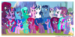 Size: 1920x946 | Tagged: safe, artist:徐詩珮, edit, fizzlepop berrytwist, glitter drops, night light, princess cadance, princess flurry heart, shining armor, spring rain, tempest shadow, twilight sparkle, twilight velvet, oc, oc:aurora (tempest's mother), oc:betty pop, oc:bubble sparkle, oc:eany sparkle, oc:fire shadow, oc:sparkle rain, oc:spring legrt, oc:storm lightning, oc:transparent (tempest's father), oc:twilight star, oc:vesty sparkle, alicorn, pony, unicorn, broken horn, brother and sister, cousins, crown, family, family photo, father and daughter, father and son, female, glitterlight, glittershadow, grandfather and grandchild, grandmother and grandchild, grandparents, half-siblings, horn, jewelry, lesbian, magical lesbian spawn, male, mare, mother and daughter, mother and son, multiple parents, next generation, nightvelvet, offspring, older, older flurry heart, parent:flash sentry, parent:glitter drops, parent:spring rain, parent:stygian, parent:tempest shadow, parent:twilight sparkle, parents:flashlight, parents:glitterlight, parents:glittershadow, parents:sprglitemplight, parents:springdrops, parents:springlight, parents:springshadow, parents:springshadowdrops, parents:tempestlight, parents:tempgian, polyamory, regalia, shiningcadance, shipping, siblings, sisters, sparkle family, sprglitemplight, springdrops, springlight, springshadow, springshadowdrops, straight, tempestlight, twilight sparkle (alicorn), twilight's castle
