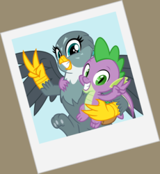 Size: 3142x3410 | Tagged: safe, artist:cheezedoodle96, gabby, spike, dragon, griffon, dragon dropped, .svg available, female, hug, male, paw pads, paws, peace sign, photo, polaroid, pose, scene interpretation, shipping, smiling, spabby, straight, svg, toe beans, underpaw, vector, winged spike
