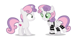 Size: 1232x613 | Tagged: artist:raindashesp, circuit, circuit board, confused, cute, diasweetes, duality, grin, looking at each other, pony, robot, robot pony, safe, self ponidox, smiling, sweetie belle, sweetie bot, unsure