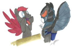 Size: 2855x1913 | Tagged: safe, artist:brisineo, oc, oc:crimson wings, pegasus, pony, fallout equestria, fallout equestria: broken bonds, armor, enclave armor, fanfic art, male, pegasus oc, power armor, price tag, solo, stallion, tongue out, wingding eyes