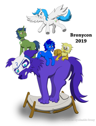 Size: 5760x7525   Tagged: safe, artist:akashic brony, oc, oc only, oc:delly, oc:electric radiation, oc:graceful motion, griffon, pegasus, pony, unicorn, bed, kindred, simple background, white background