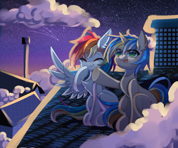 Size: 4423x3686 | Tagged: artist:alus, canon x oc, chest fluff, cloud, cute, dashabetes, dopadash, female, glowing eyes, happy, looking up, male, night, oc, ocbetes, oc:dopami korpela, pegasus, pony, rainbow dash, roof, rooftop, safe, shipping, shooting star, sitting, sky, smiling, stargazing, stars, straight, unicorn